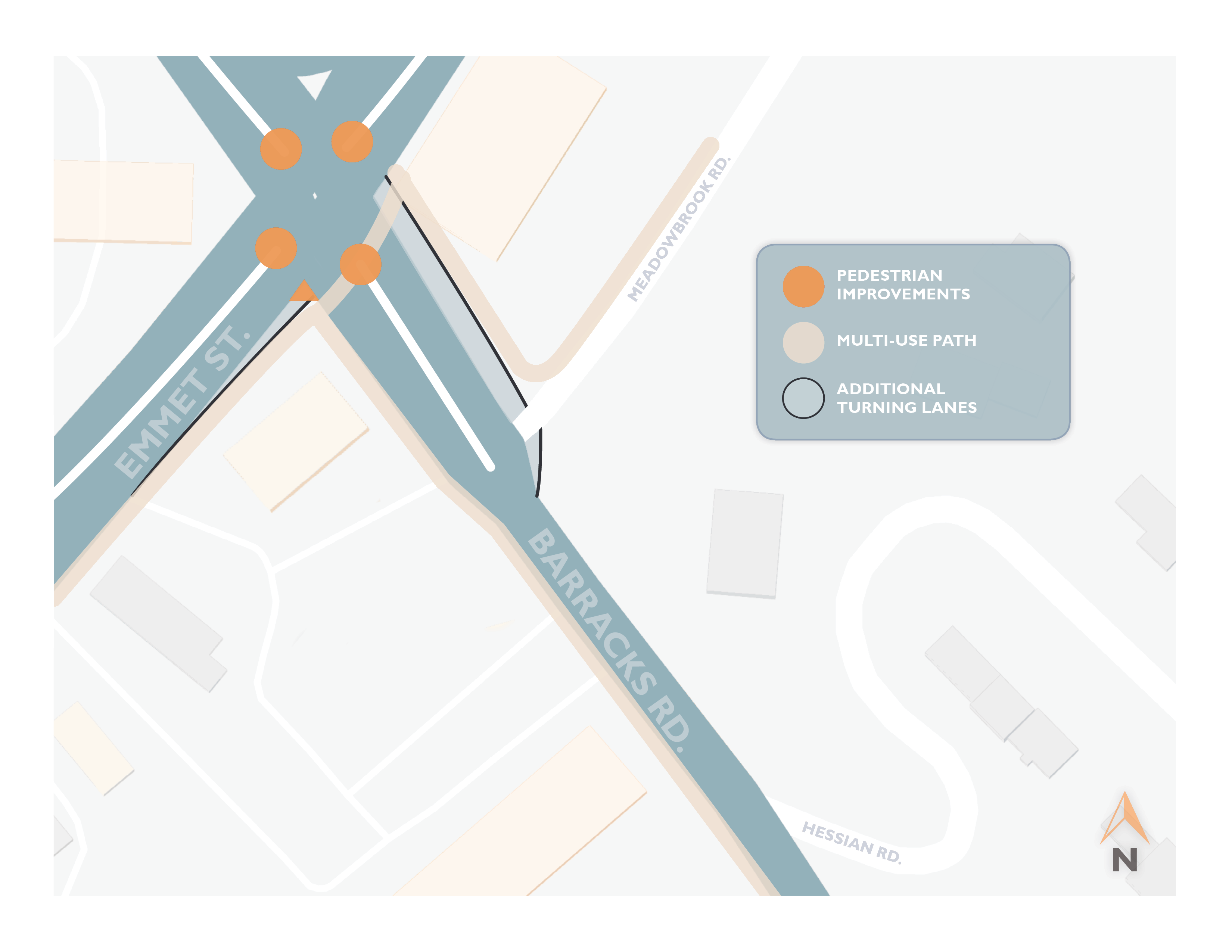 Barracks-Emmet Intersection Improvements Project Map